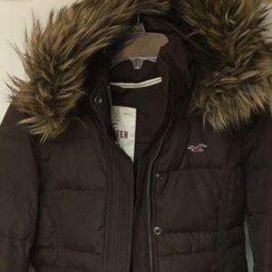 💜Hollister Puffer Winter Warm Jacket Fur Hood 💋!